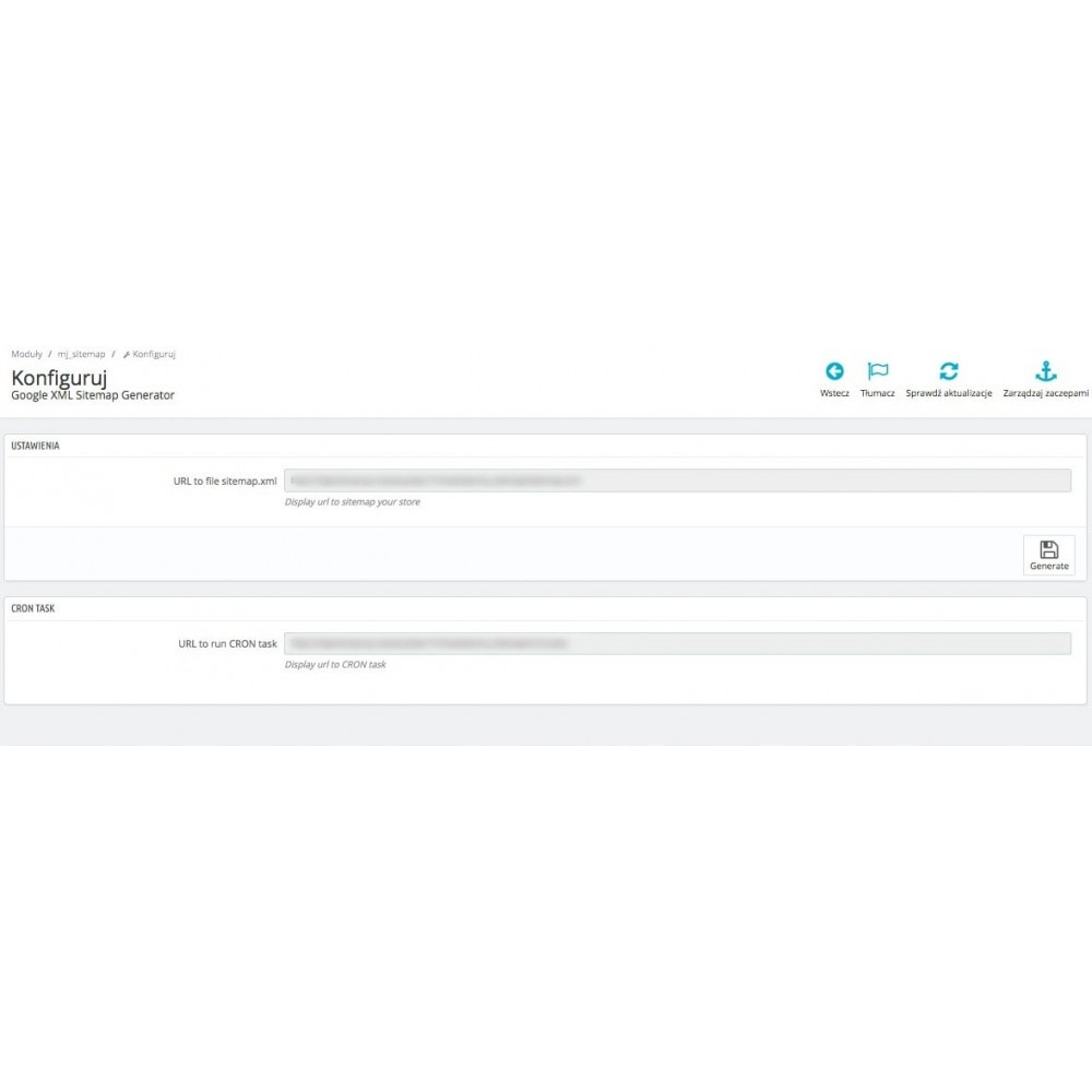 module - SEO (Referenciamento natural) - Google XML Sitemap Generator - 2
