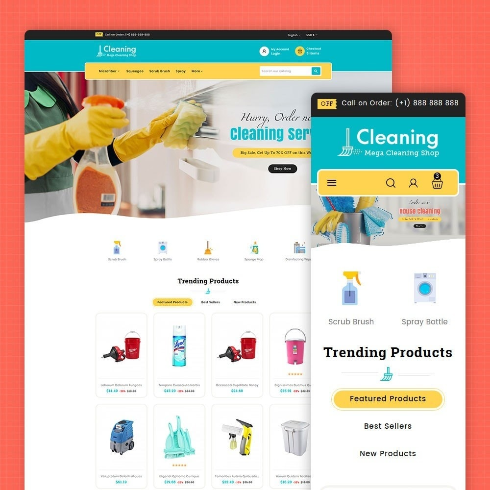 theme - Home & Garden - Cleaning Tools & Washing Service - 1