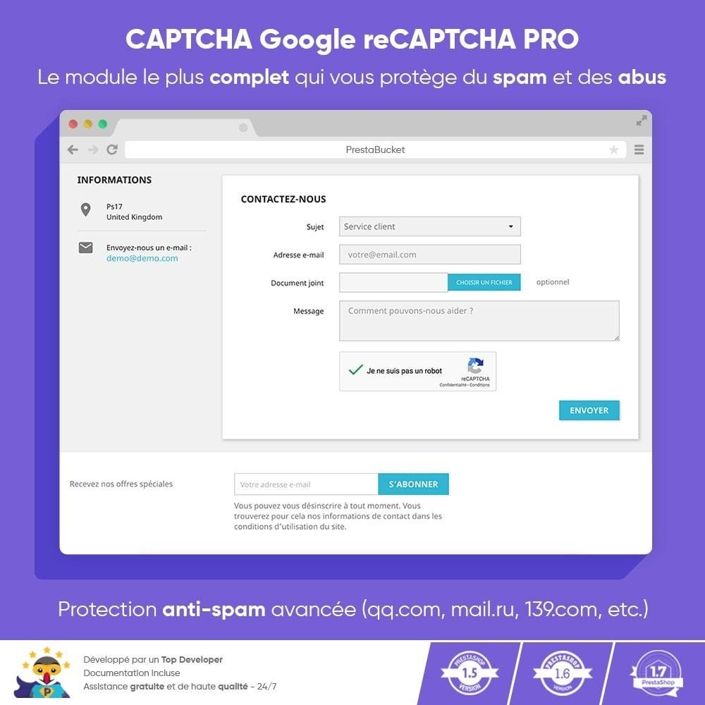 module - Sécurité & Accès - CAPTCHA Google reCAPTCHA PRO + anti Faux Comptes - 1