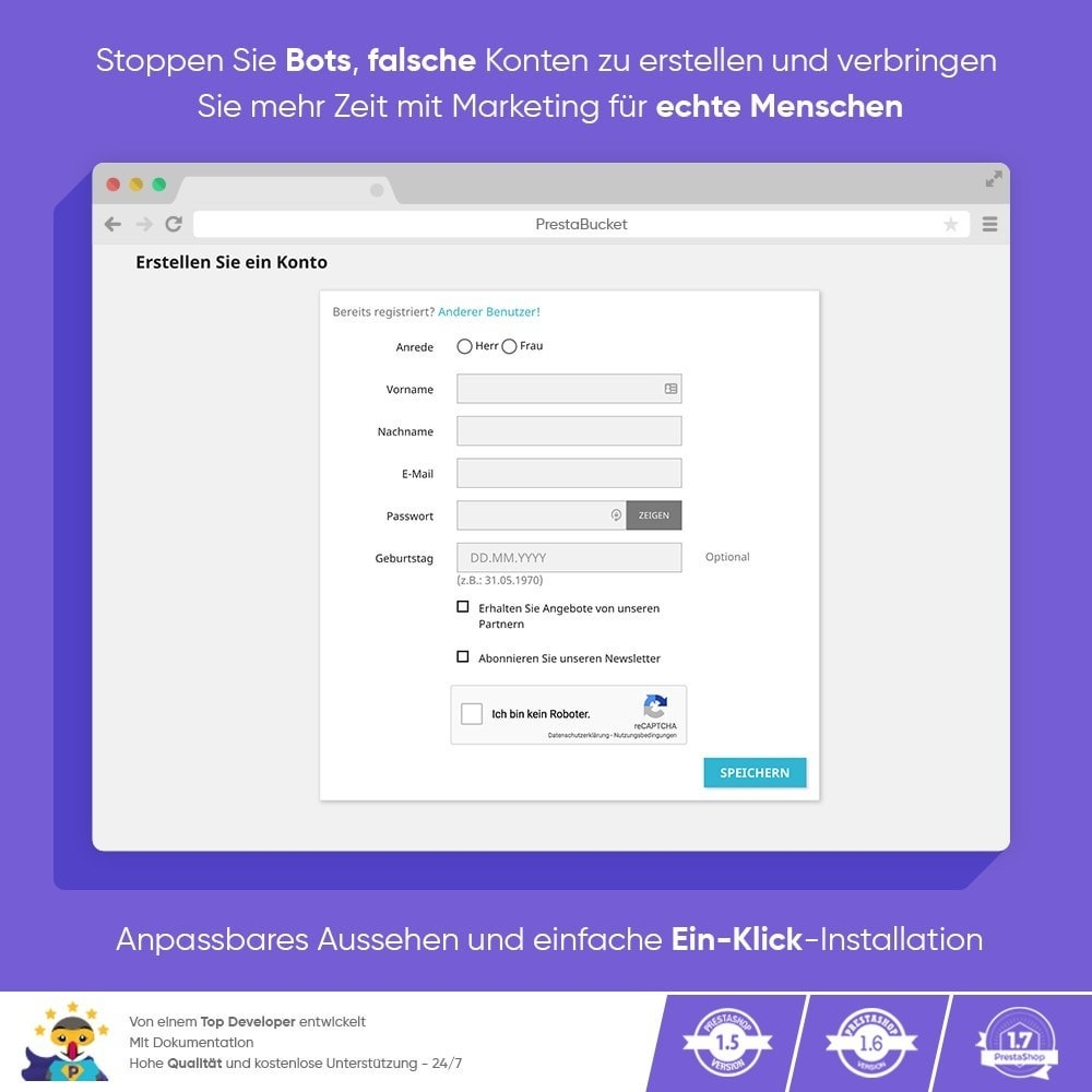 module - Sicherheit & Brechtigungen - CAPTCHA Google reCAPTCHA PROFI + Anti-Fälschungen - 6