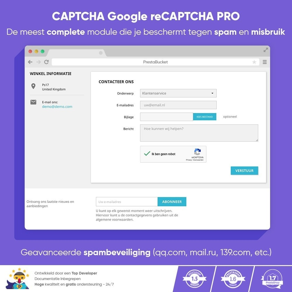 module - Veiligheid & Toegang - CAPTCHA Google reCAPTCHA PRO + anti Fake Accounts - 1