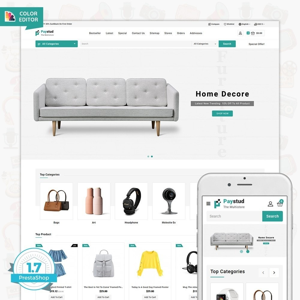 theme - Elettronica & High Tech - Paystud - The MultiStore Theme - 1