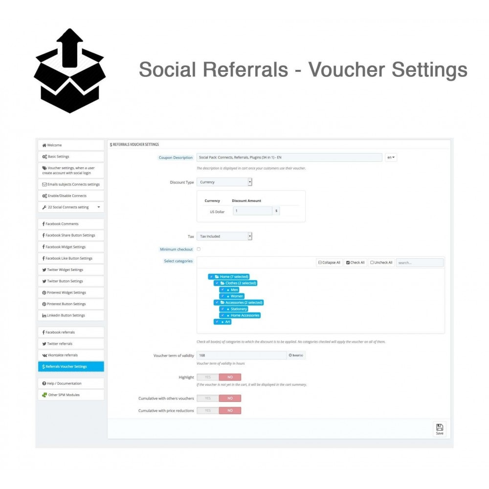 module - Inloggen - Social Pack: Connects, Referrals, Plugins (34 in 1) - 45