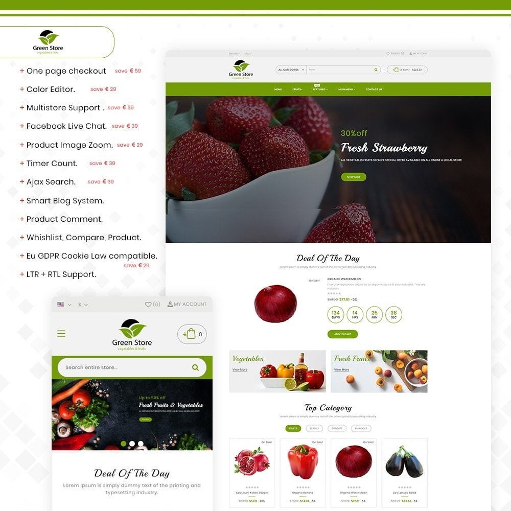 theme - Eten & Restaurant - Greenstore – Multipurpose Vegetable Store - 1