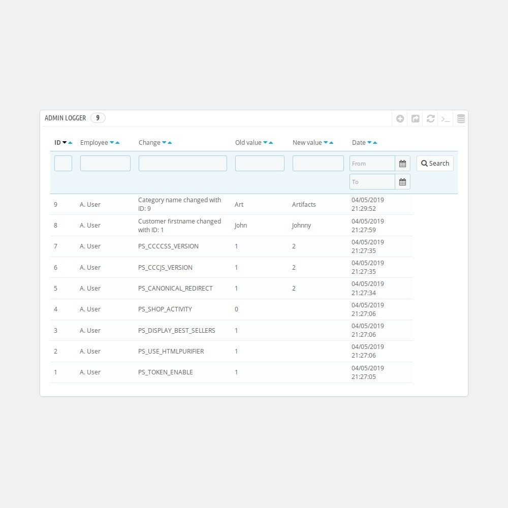module - Narzędzia administracyjne - Admin logger - logs admin actions in the back office - 2