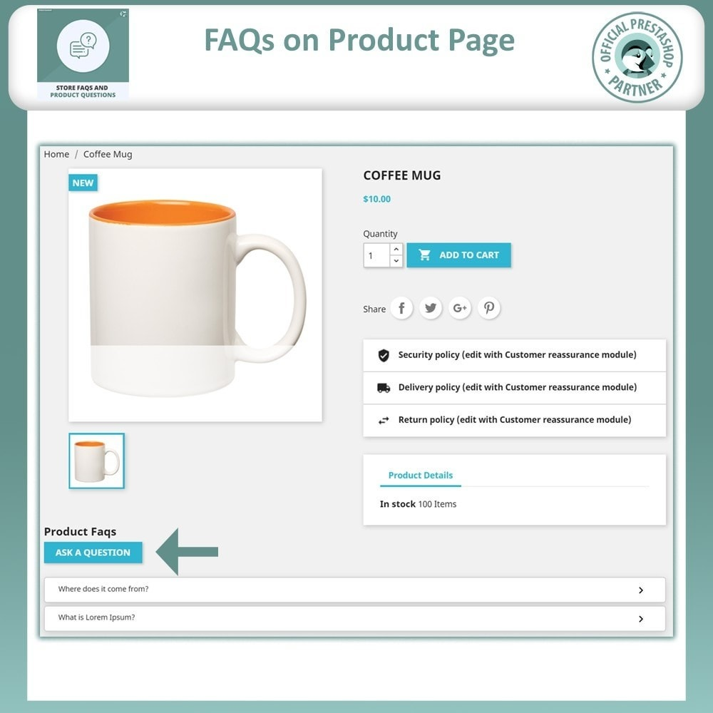 module - FAQ (Perguntas frequentes) - Store FAQs + Product FAQs (Frequently Asked Questions) - 8