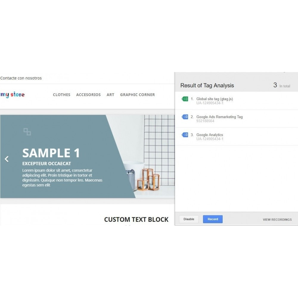 module - Analytics & Statistics - Conversions: Analytics, Adwords, Pixel, Rmkt (gtag.js) - 1
