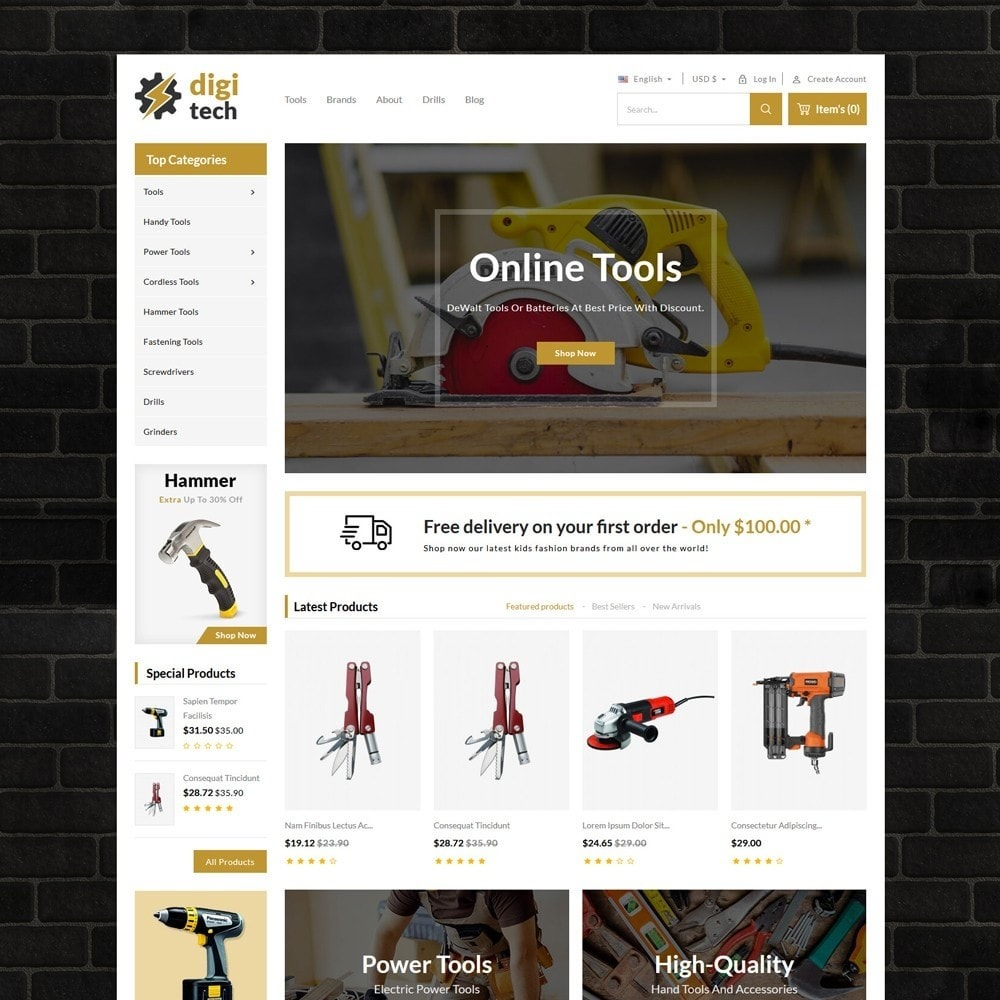 theme - Automotive & Cars - DIgitech Tools Store - 2