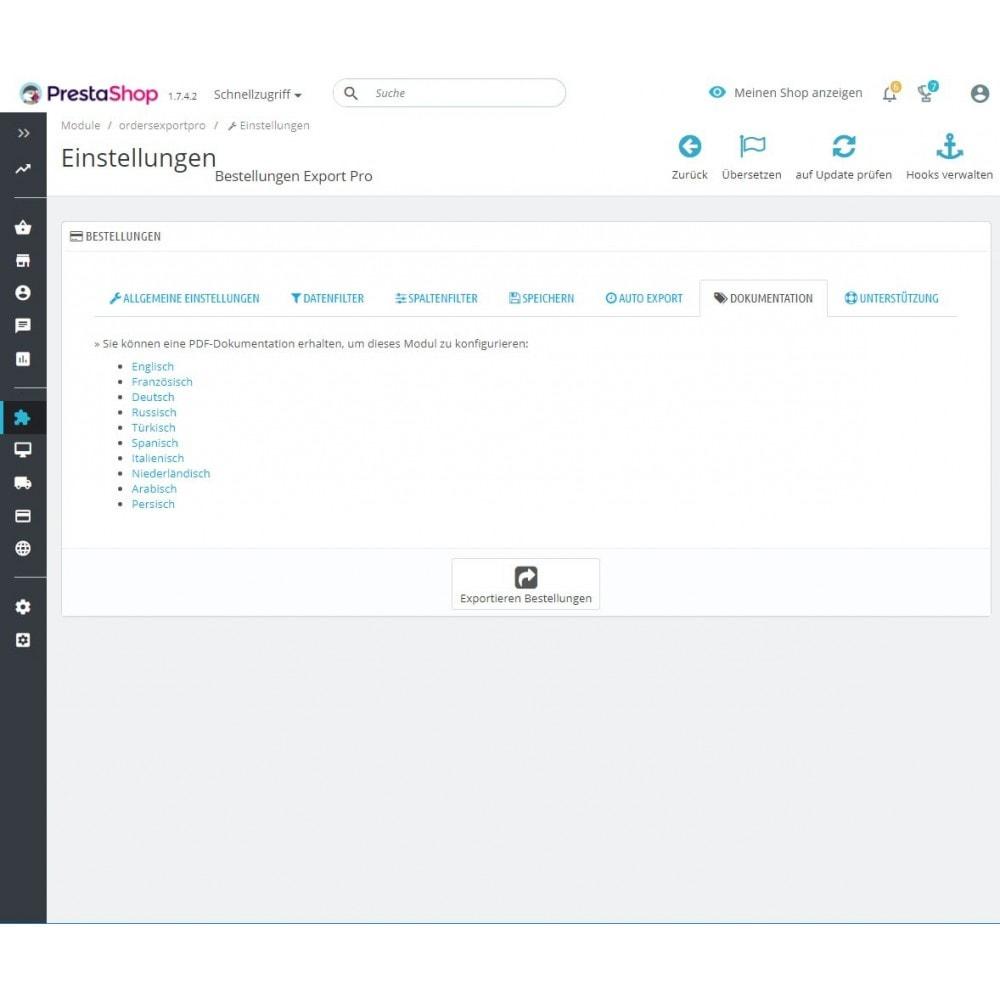 module - Daten Im-&Export - Bestellungen Export Pro (Excel, CSV, PDF, Email, FTP) - 6