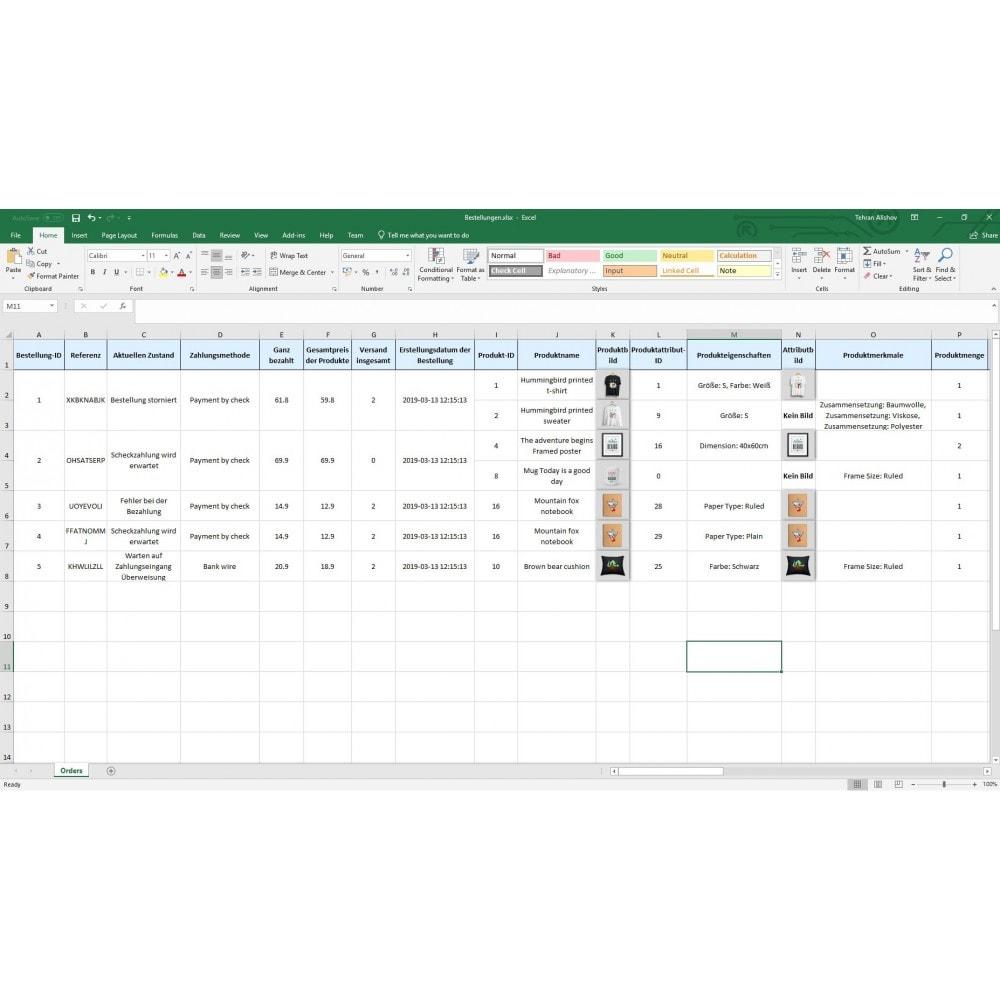 module - Daten Im-&Export - Bestellungen Export Pro (Excel, CSV, PDF, Email, FTP) - 8