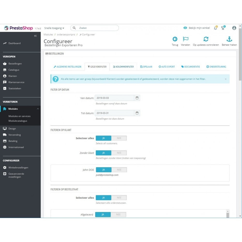 module - Importeren en Exporteren van data - Export van Bestellingen Pro (Excel, CSV, PDF,Email,FTP) - 2