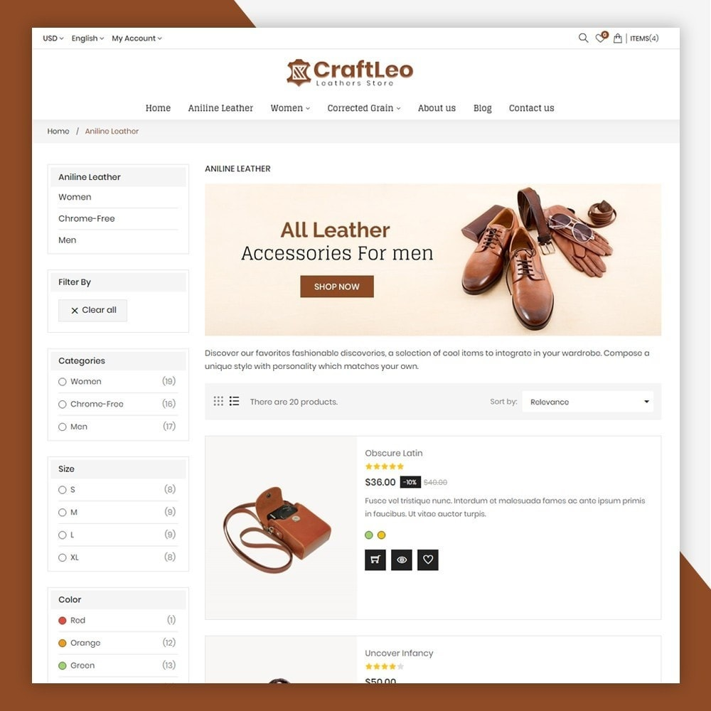 theme - Moda & Obuwie - CraftLeo - Leather Fashions Store - 6