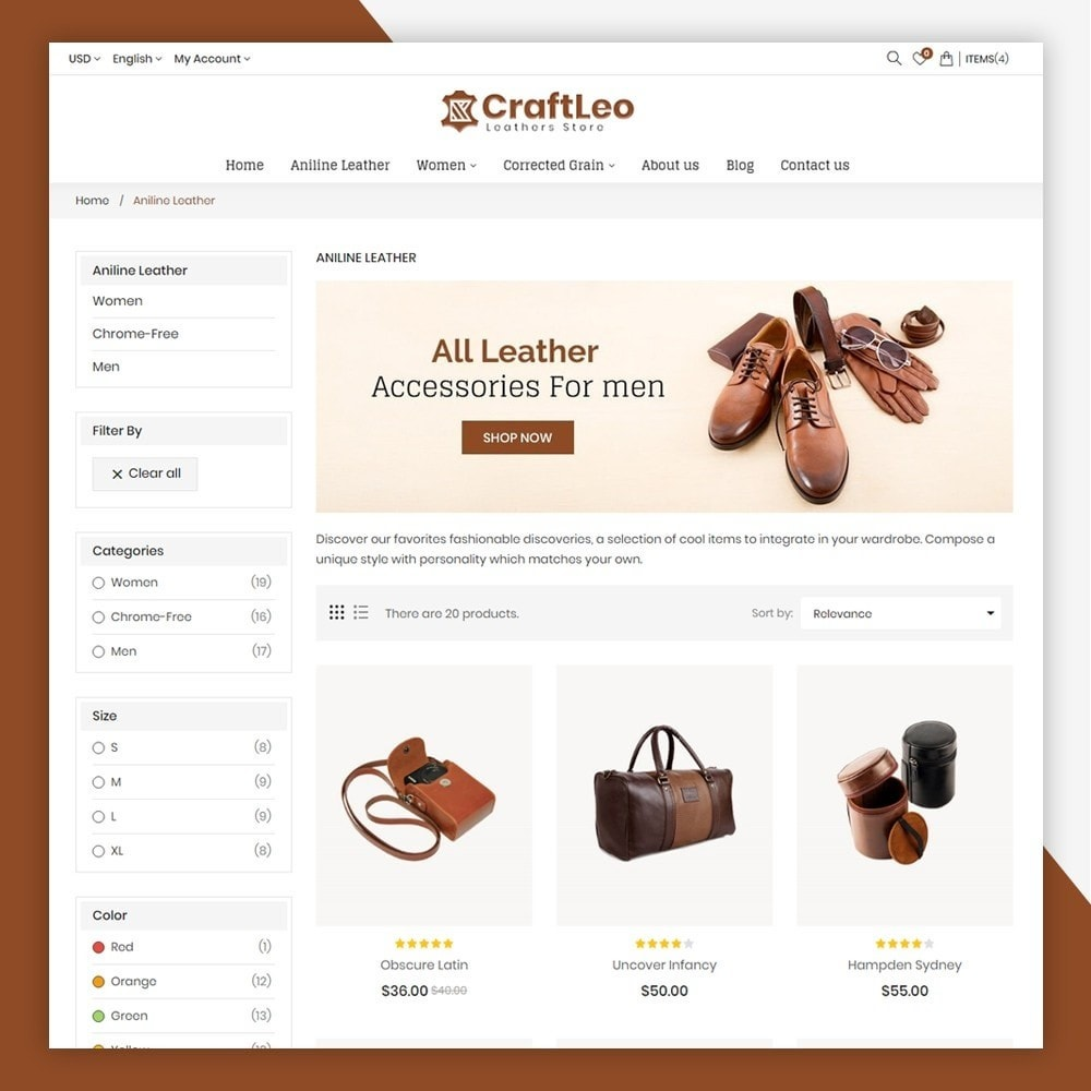 theme - Mode & Chaussures - CraftLeo - Leather Fashions Store - 6