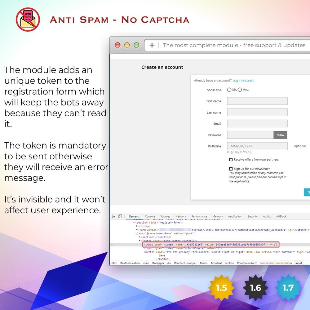 module - Seguridad y Accesos - Anti Spam - No captcha - 3