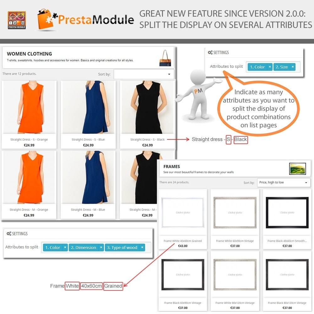module - Versies & Personalisering van producten - Products by Attributes: Producten weergeven per kenmerk - 2