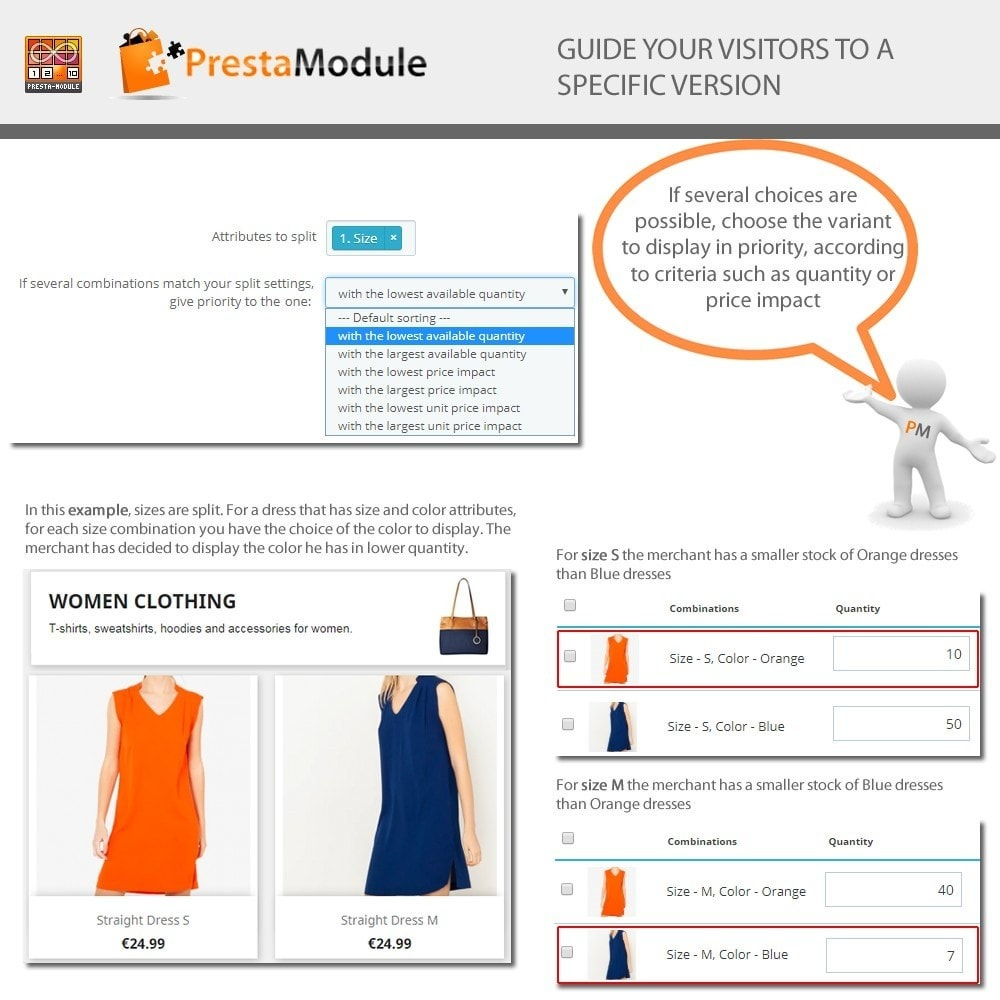 module - Combinations & Product Customization - Products by Attributes - Display combinations - 6
