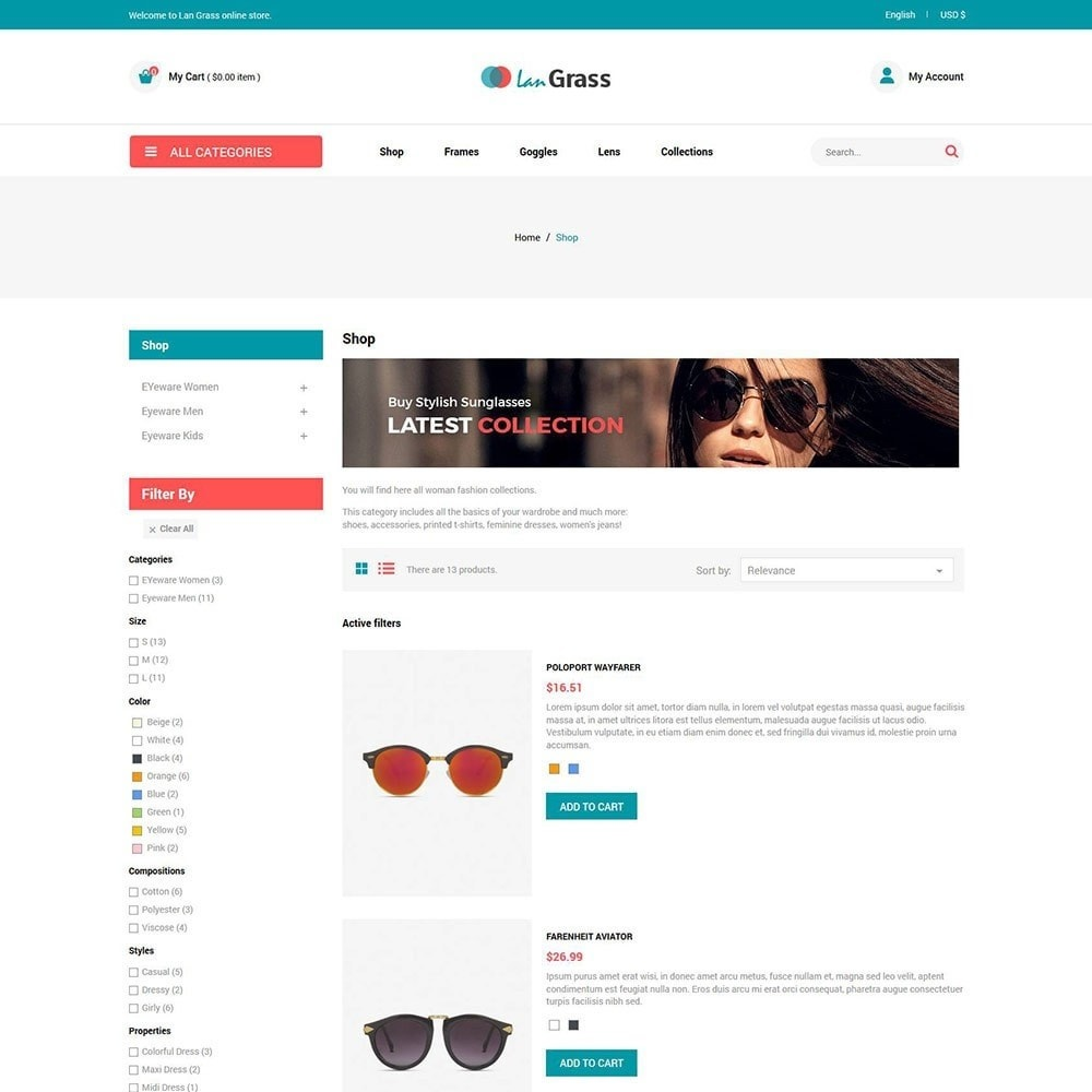theme - Fashion & Shoes - Eyeware  Sunglass - Lens Store - 4