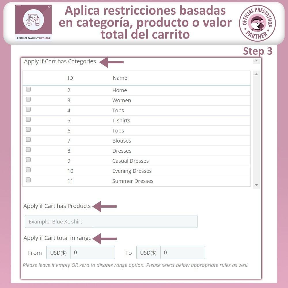 module - Otros métodos de pago - Restringir Métodos De Pago - 7
