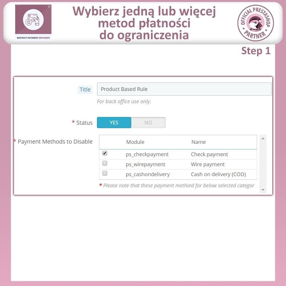 module - Inne środki płatności - Ograniczania Metod Płatności - 4