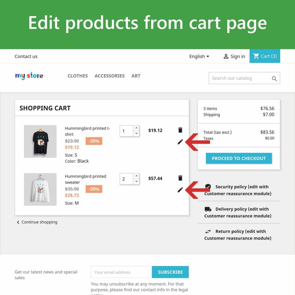module - Combinaciones y Personalización de productos - Edit Products in Cart - 2