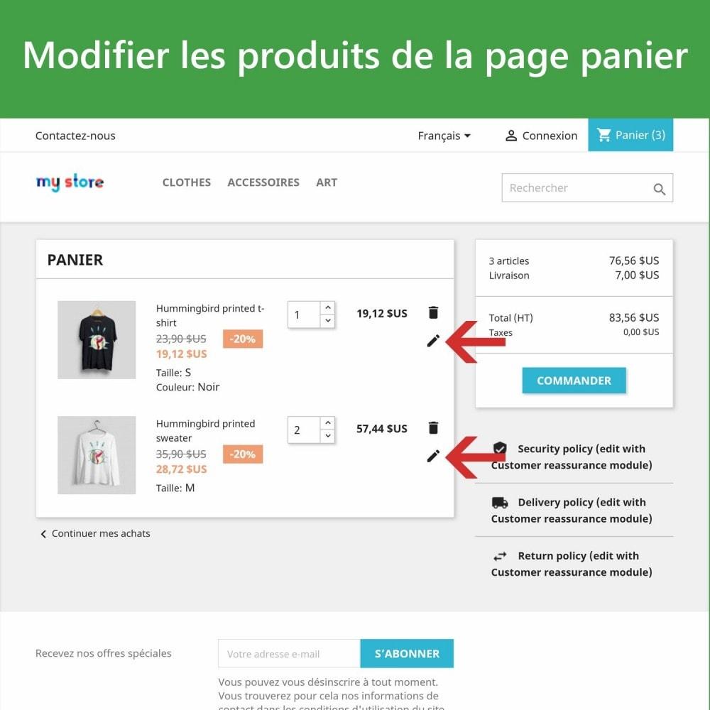 module - Déclinaisons & Personnalisation de produits - Modifer les produits dans le panier - 2