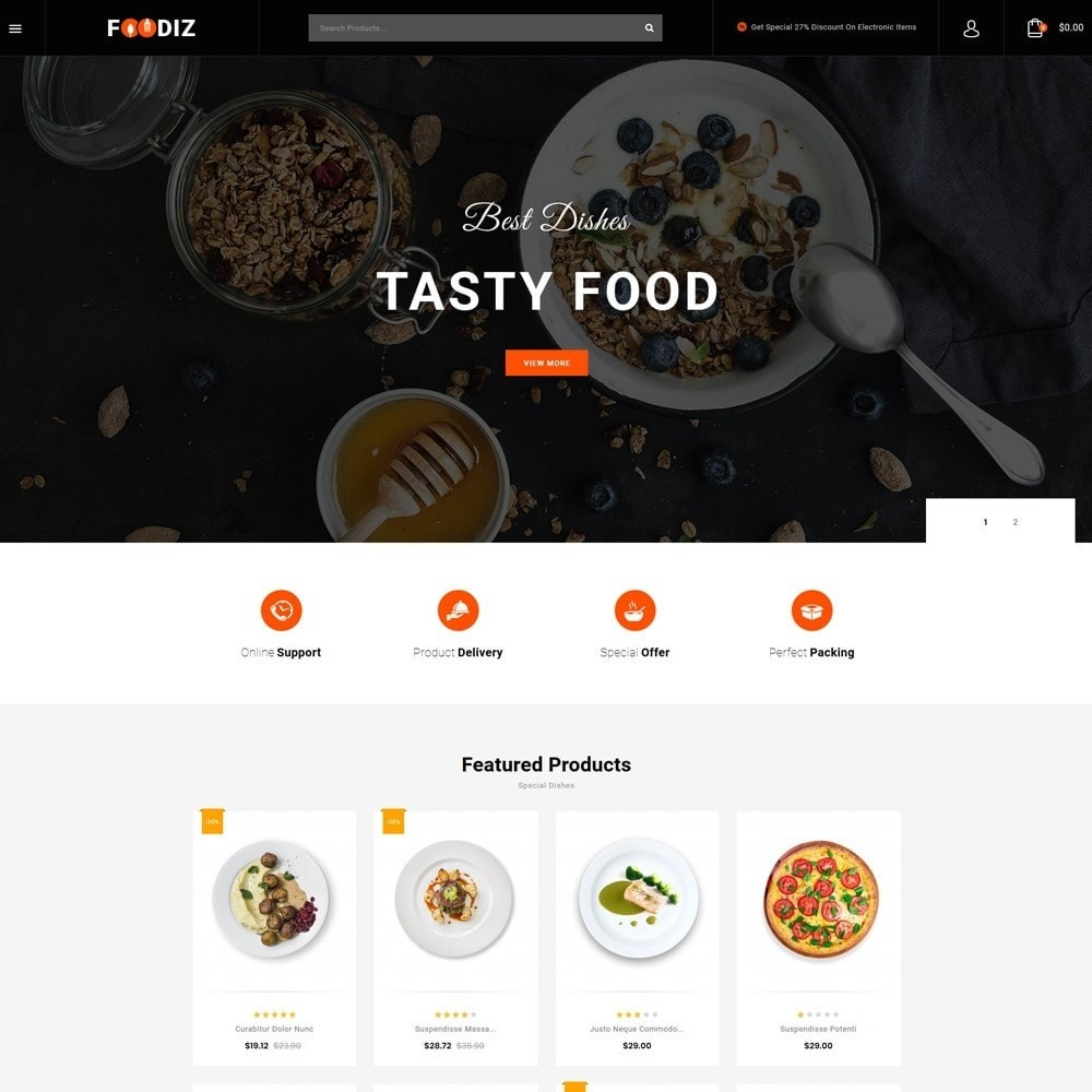 theme - Alimentos & Restaurantes - Foodiz - Restaurants Store - 2