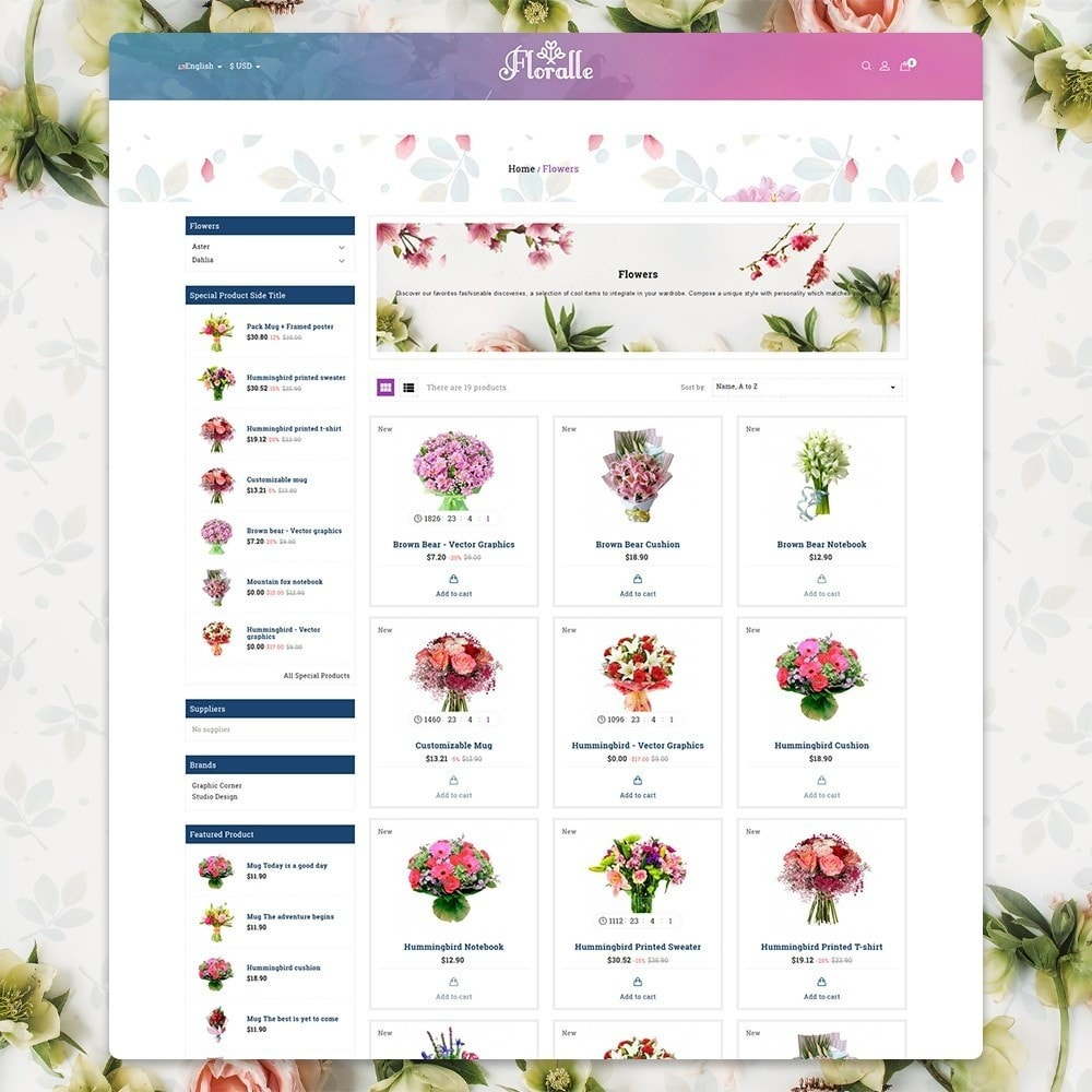 theme - Gifts, Flowers & Celebrations - Flower Store  - Floralle Responsive Template - 3