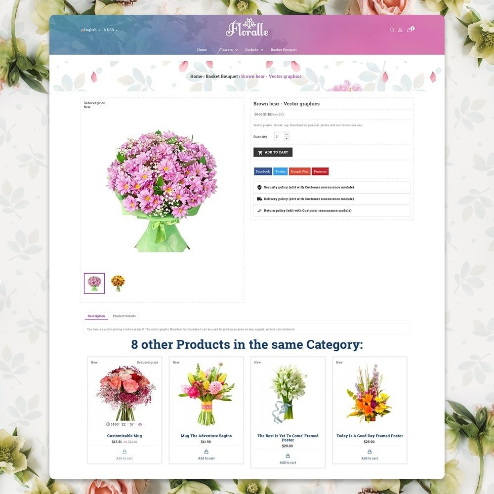 theme - Gifts, Flowers & Celebrations - Flower Store  - Floralle Responsive Template - 5