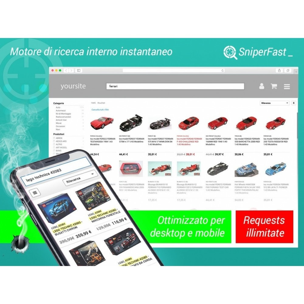 module - Ricerche & Filtri - Ricerca veloce ed immediata per ecommerce - SniperFast - 1