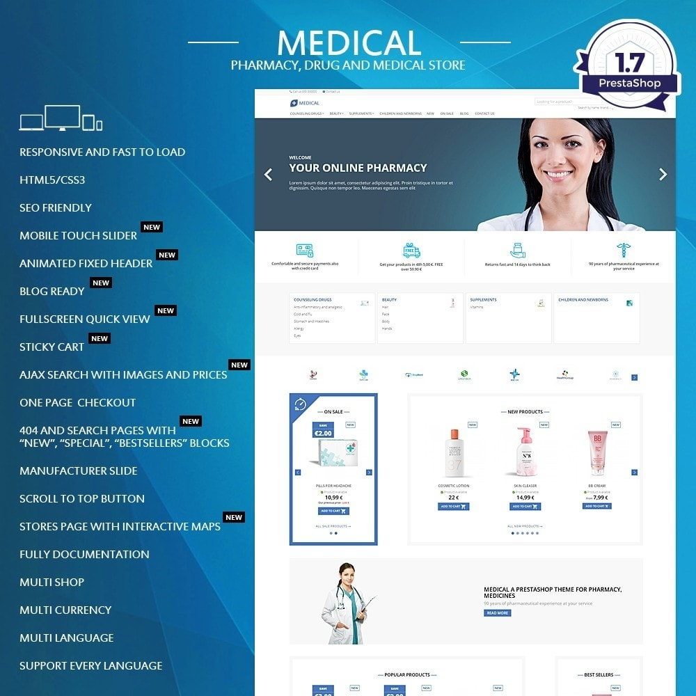 theme - Здоровье и красота - Medical for pharmacy, health and medical store - 1
