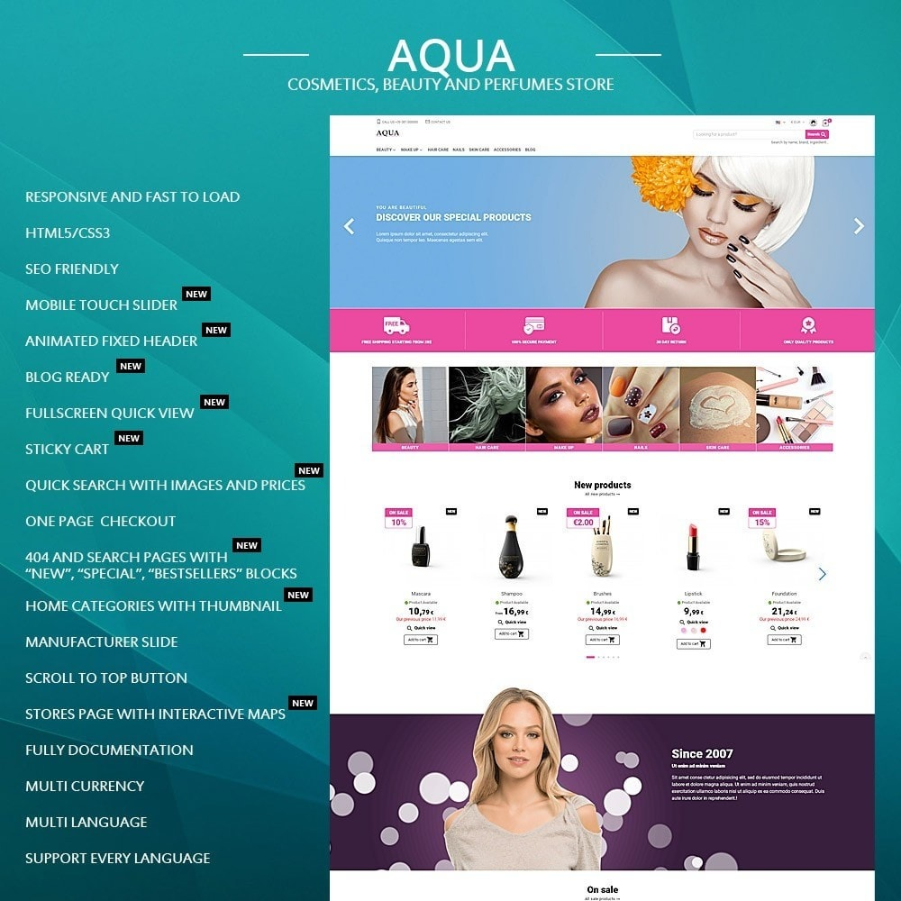 theme - Health & Beauty - Aqua - cosmetics, beauty and perfumes store - 1
