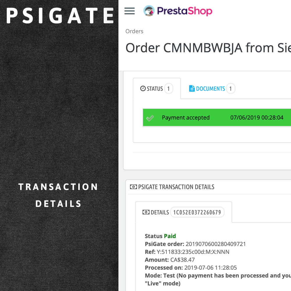 module - Payment by Card or Wallet - PsiGate credit card transactions API - 5