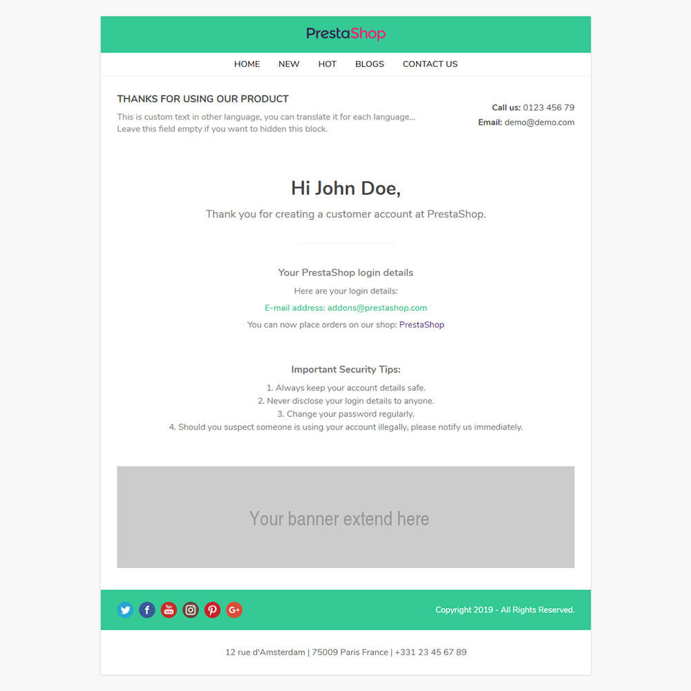 email - Template di e-mail PrestaShop - One for All - Template emails and for emails of modules - 7