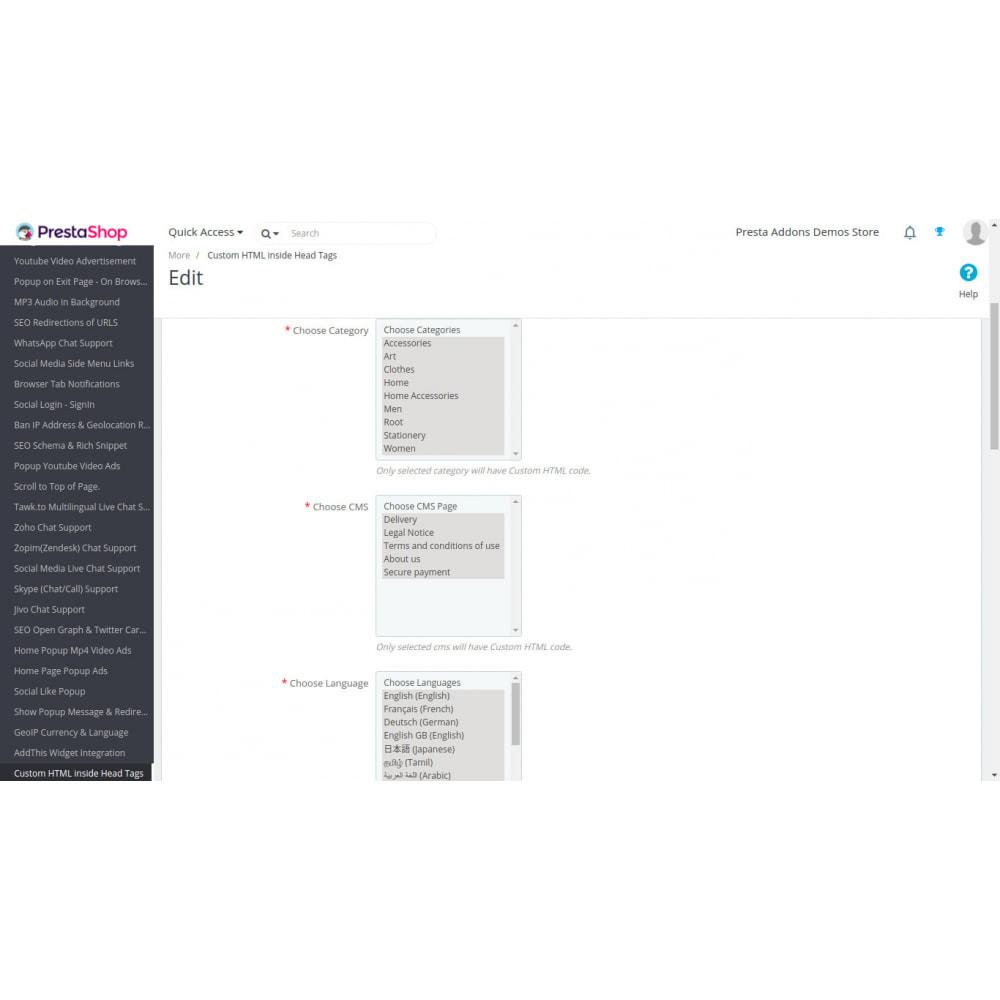 module - SEO (Posicionamiento en buscadores) - HTML personalizado, CSS, JS en páginas seleccionadas - 2