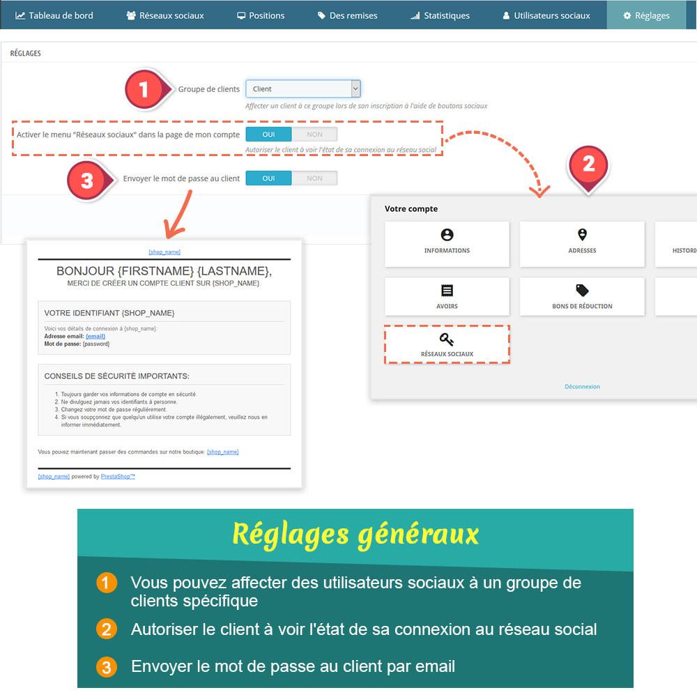 module - Boutons Login & Connect - SOCIAL LOGIN - 32+ réseaux sociaux - 9