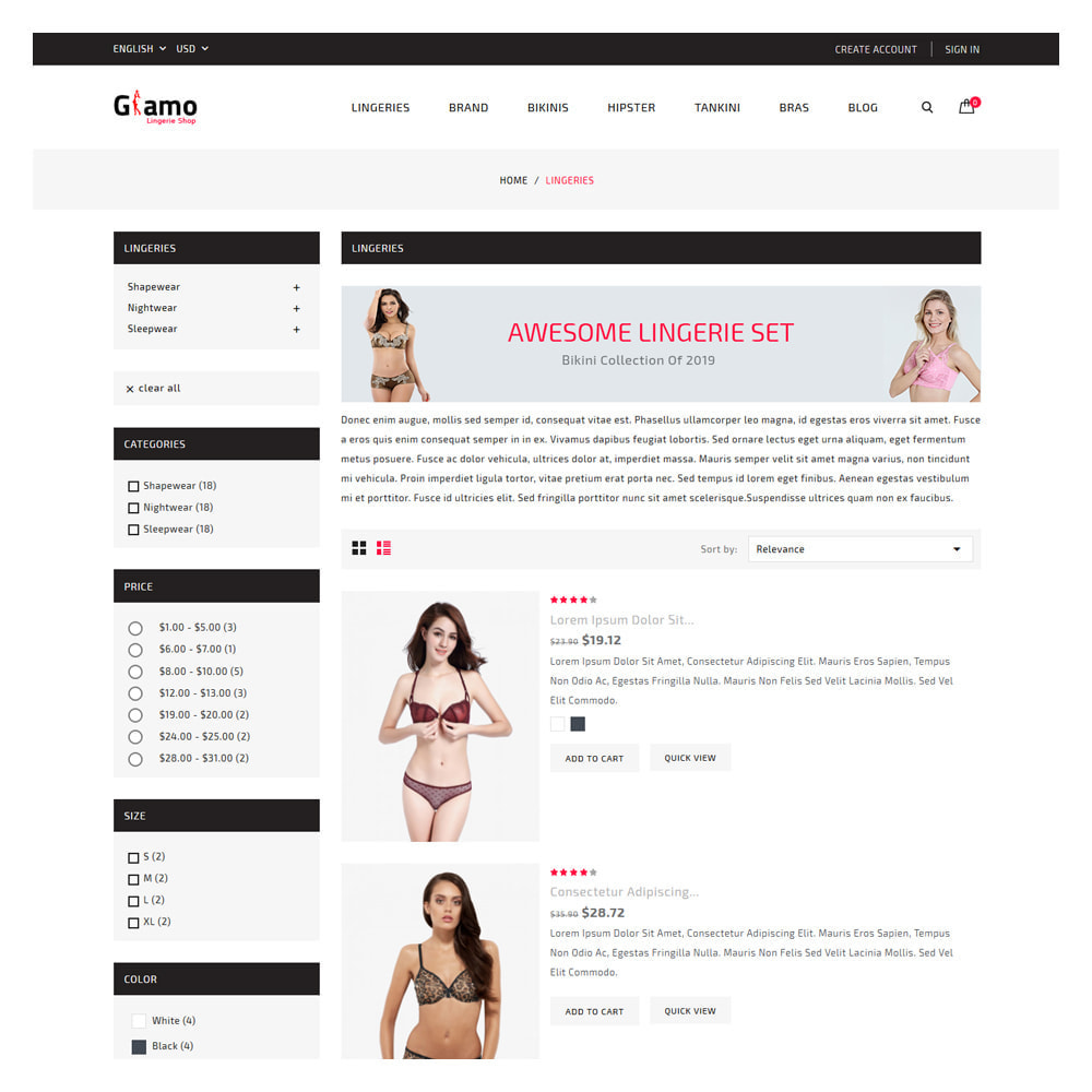 theme - Lingerie & Adult - Glamo Lingerie & Adult Store - 4