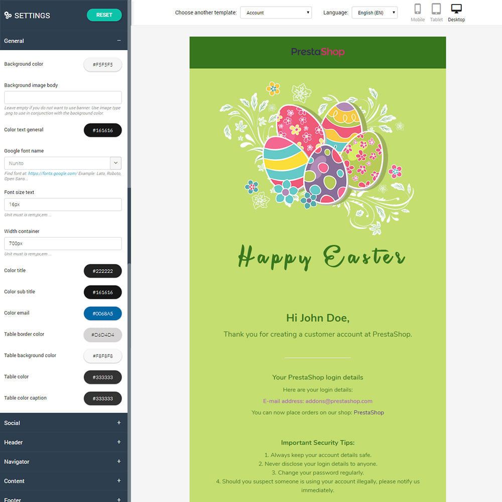 email - Email templates PrestaShop - Easter - Email templates Customize - 2