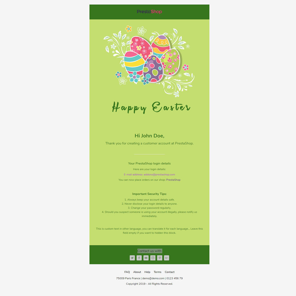 email - Plantillas de correos electrónicos PrestaShop - Easter - Template emails and for emails of module - 3