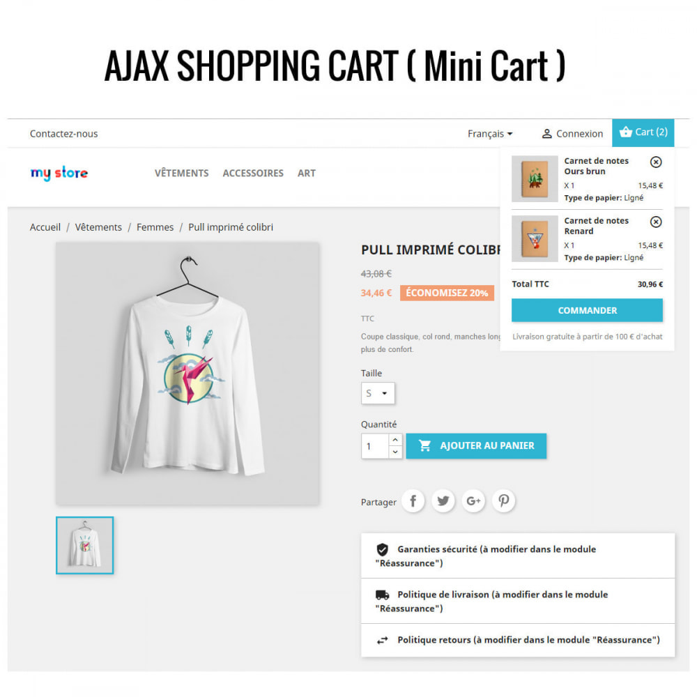 module - Адаптация страницы - Ajax Shopping Cart ( Mini Cart ) - 1