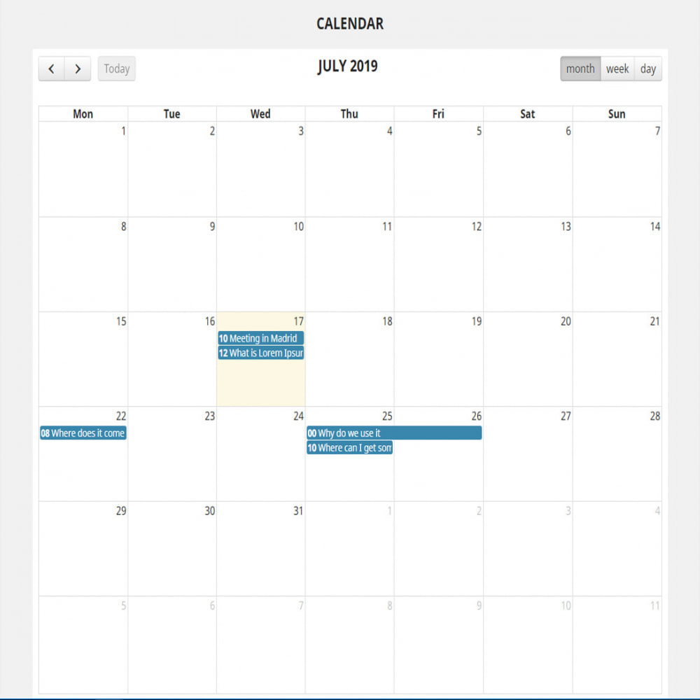module - Blog, Forum & Nieuws - Full calendar events - 2