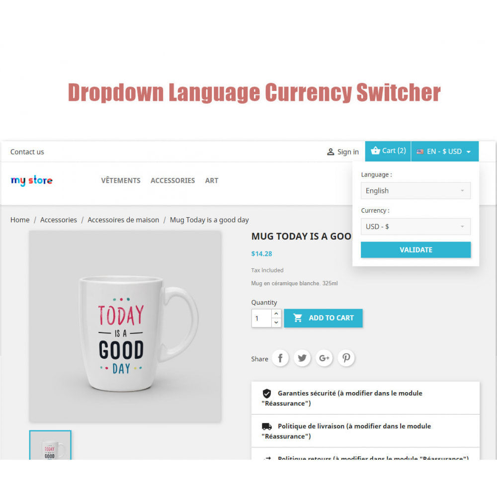 module - Front office features - Dropdown Language Currency Switcher - 1