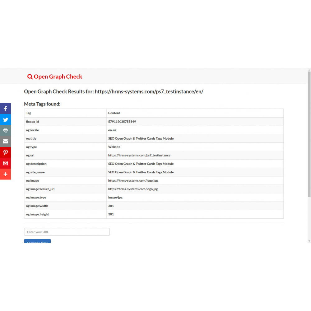 module - SEO (Referenciamento natural) - Gerador de Tags SEO Graph & Twitter Card Open - 5