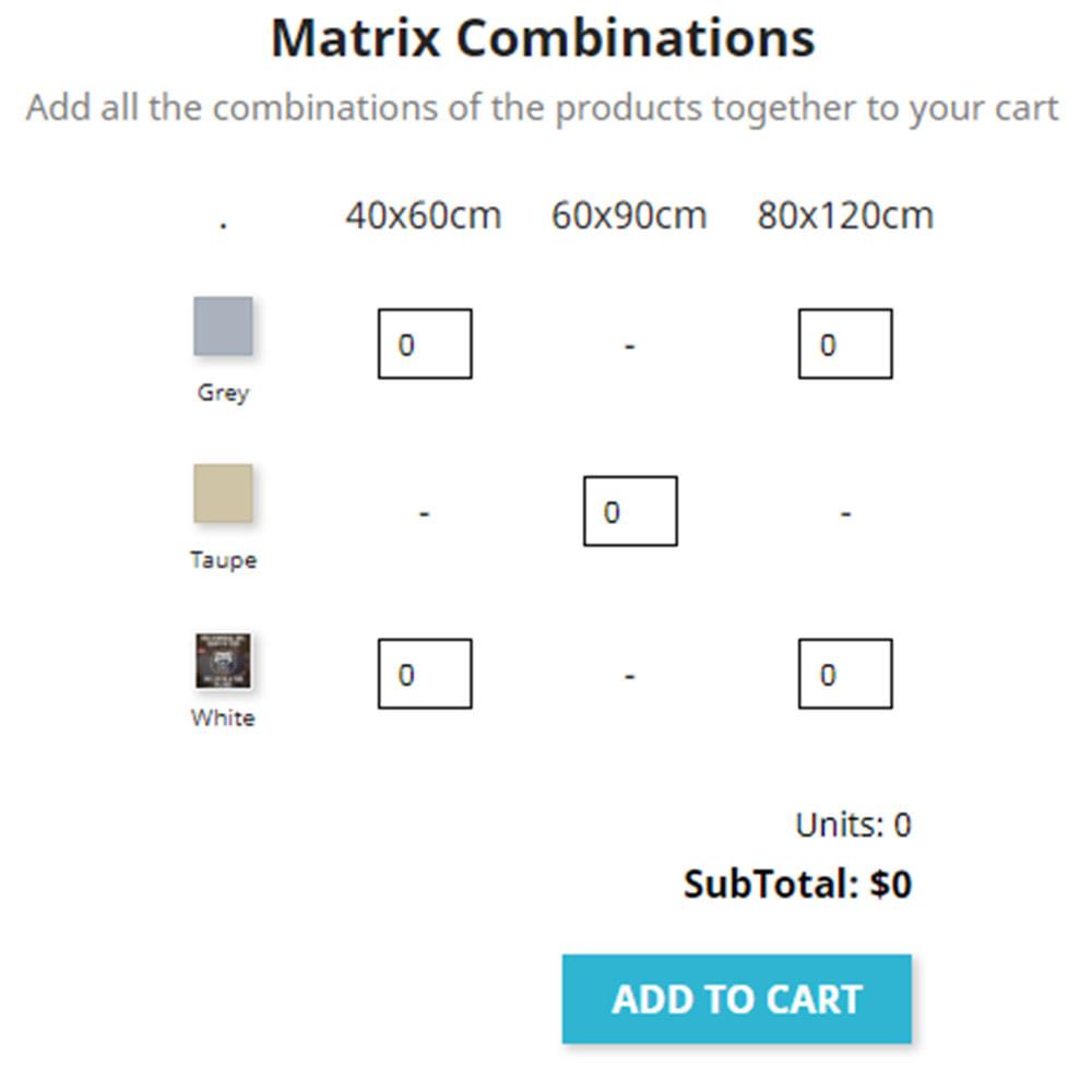 module - Combinations & Product Customization - Matrix Combinations - 1