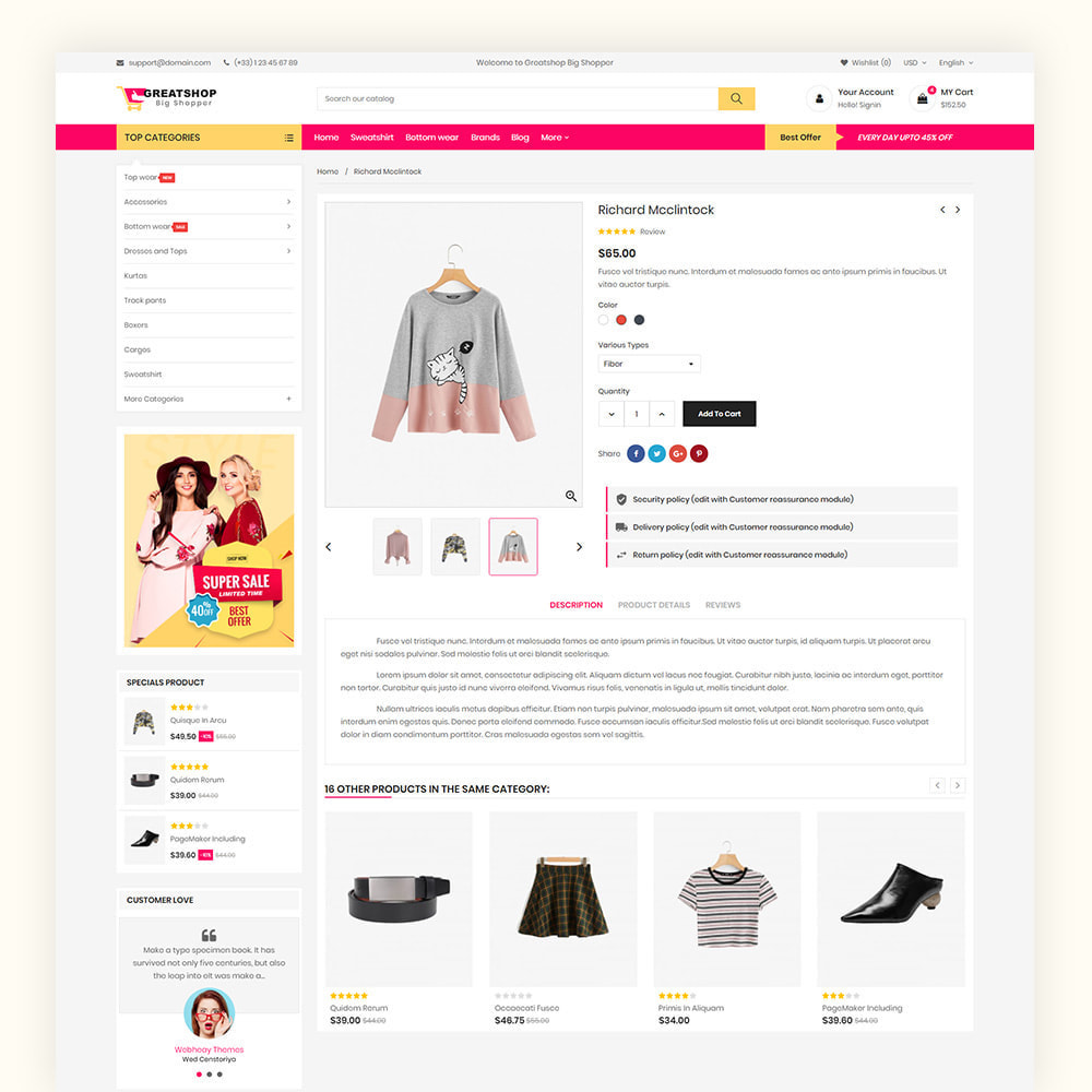 theme - Mode & Chaussures - Greatshop Mega Fashion Store - 7