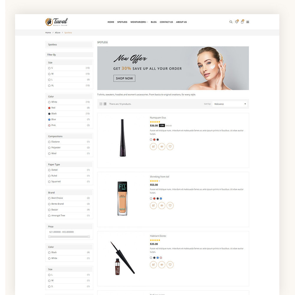 theme - Salud y Belleza - Tuval Beauty Salon Cosmetics Store - 6