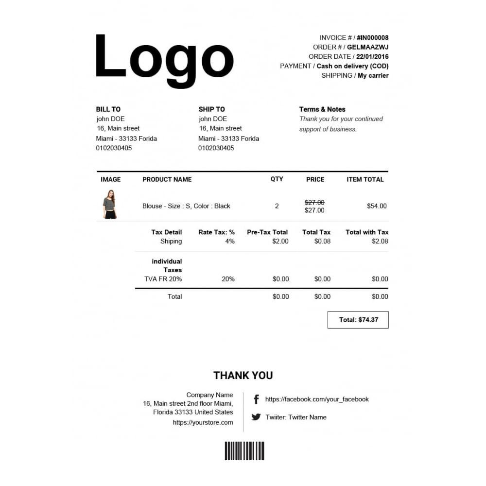 module - Buchhaltung & Rechnung - Rechnung, Lieferung, Gutschrift PDF + Kundenummer - 4