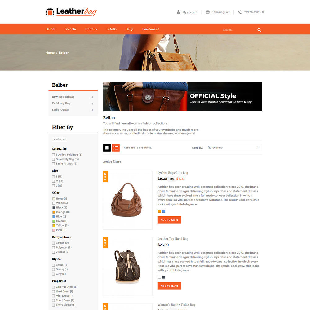 theme - Fashion & Shoes - Leather Bag - Apparels  Fashion Store - 4