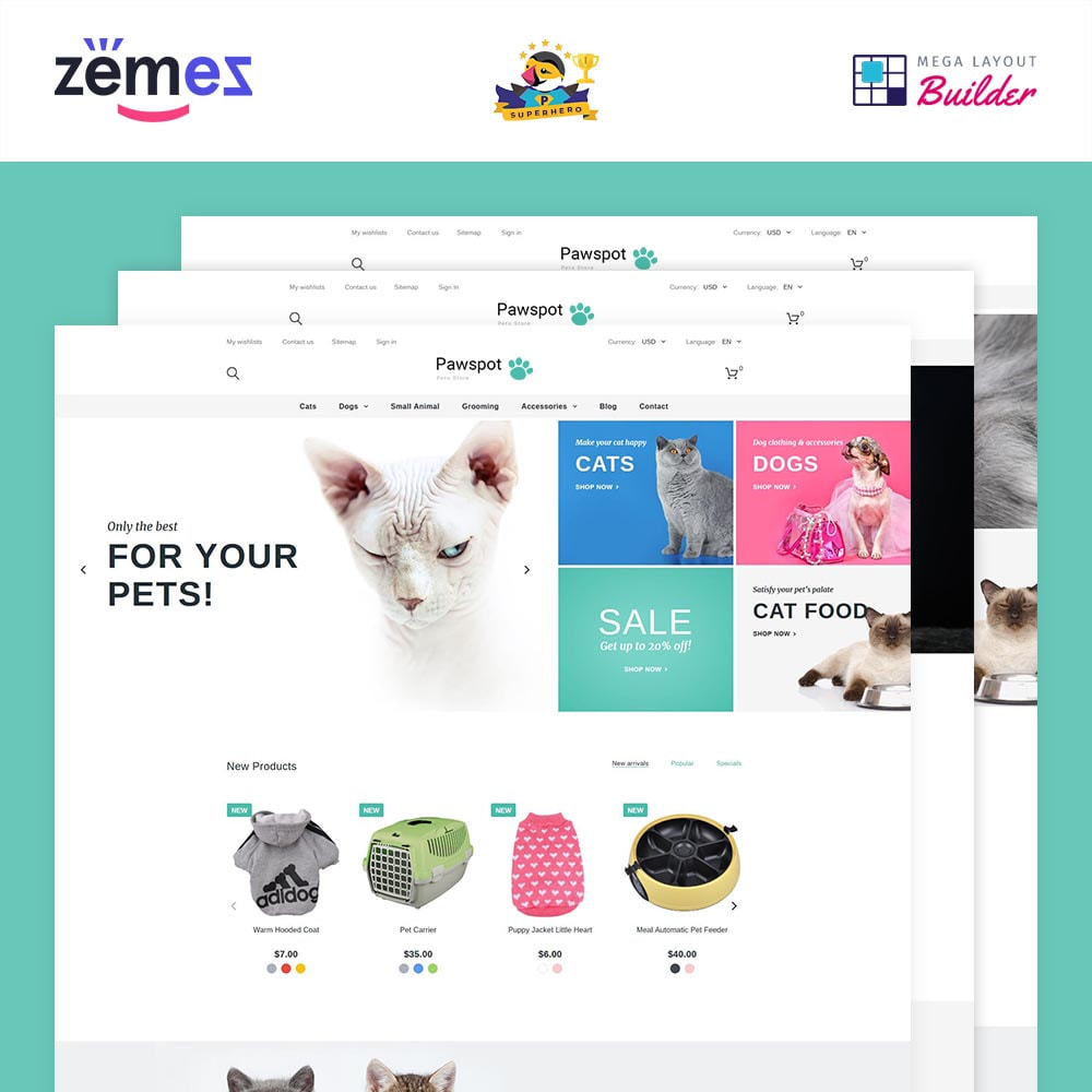 theme - Animals & Pets - Pawspot - Pets Store - 1