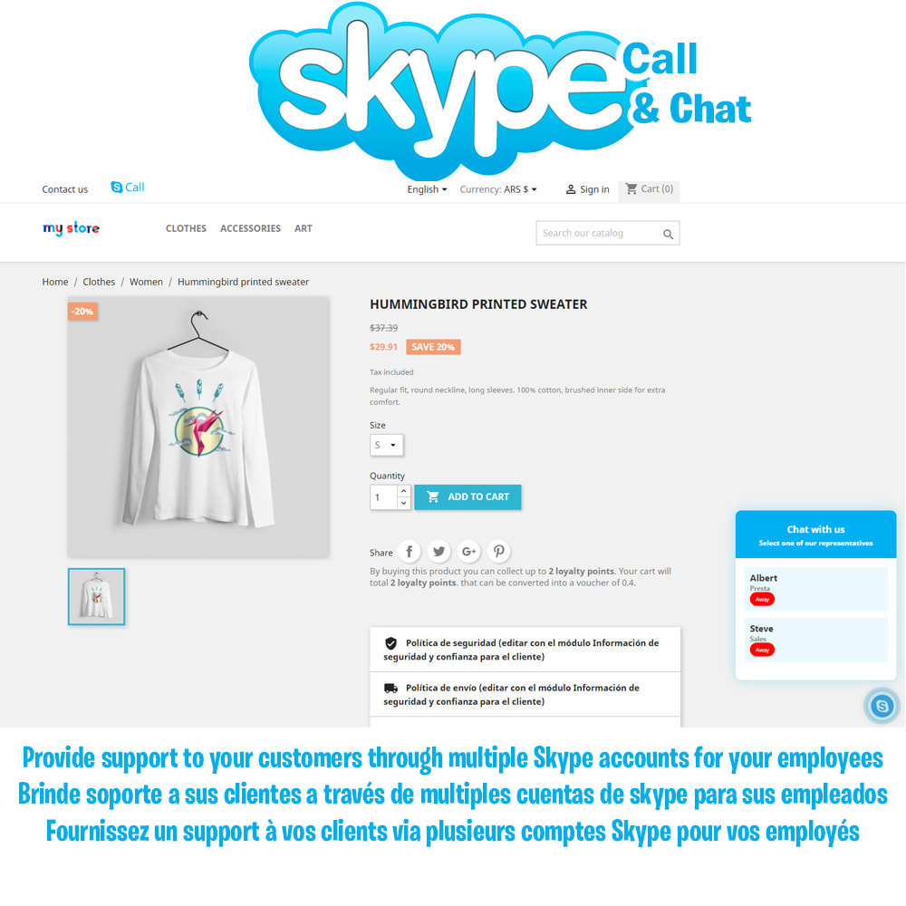module - Ondersteuning & Online chat - Skype Call Button / Chat support - 1