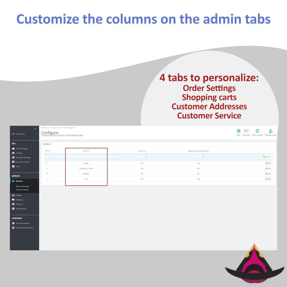 module - Administrative Tools - Customize the columns on the admin lists - 2